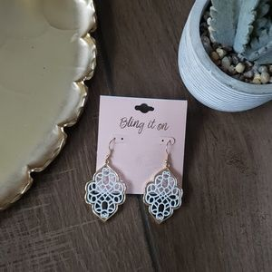 Boutique Gold Baroque Geo Statement Earrings